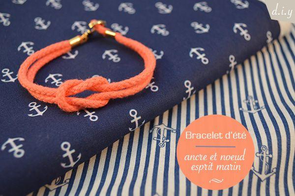bracelet d'été - noeud et ancre esprit marin - auseychelles.fr