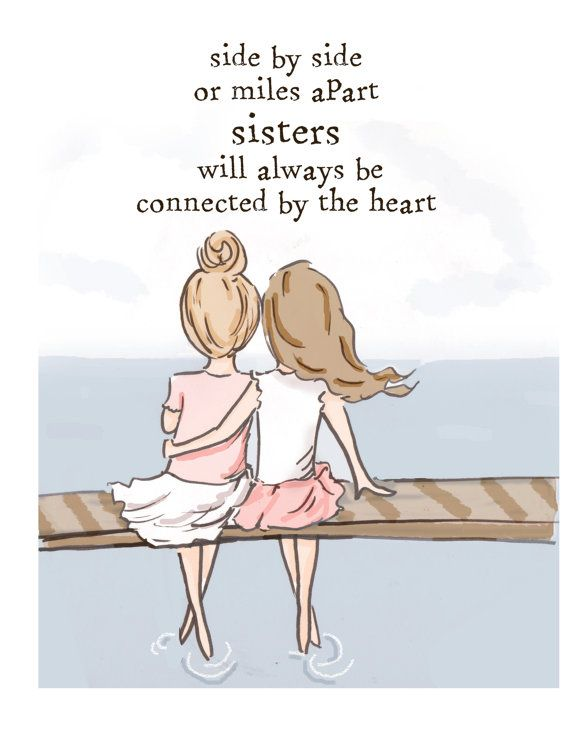 Sister Wall Art Sisters Digital Art Print by RoseHillDesignStudio