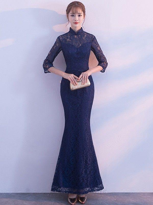 Blue Lace Fishtail Qipao / Cheongsam Evening Dress