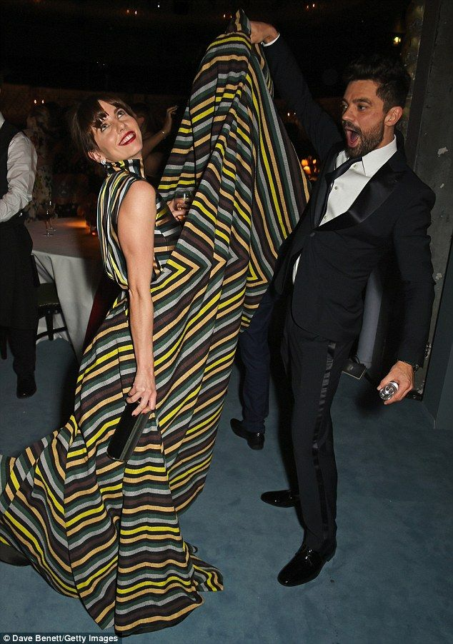 Hem-raising fun: The likes of Dominic Cooper and Ophelia Lovibond (pictured) joined Dita a...