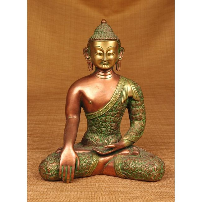 and Copper Sitting Buddha Sculpture, Handmade in India