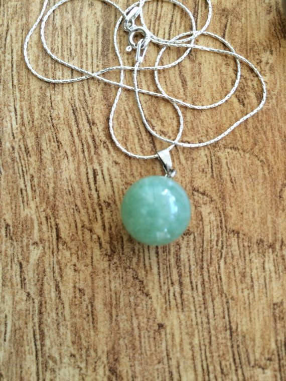 Green Jade Necklace Round Ball Jade Pendant Sweet by DanusHandmade