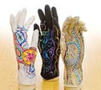 Dick Blick    K-12  Mehndi Art Gloves  Originating in ancient India, Mehndi is the artistic application of designs to the hands and feet. Students can enjoy the practice of Mehndi without staining their skin by creating radial designs in marker while wearing a glove. The sense of touch while creating the design is an important part of the process.