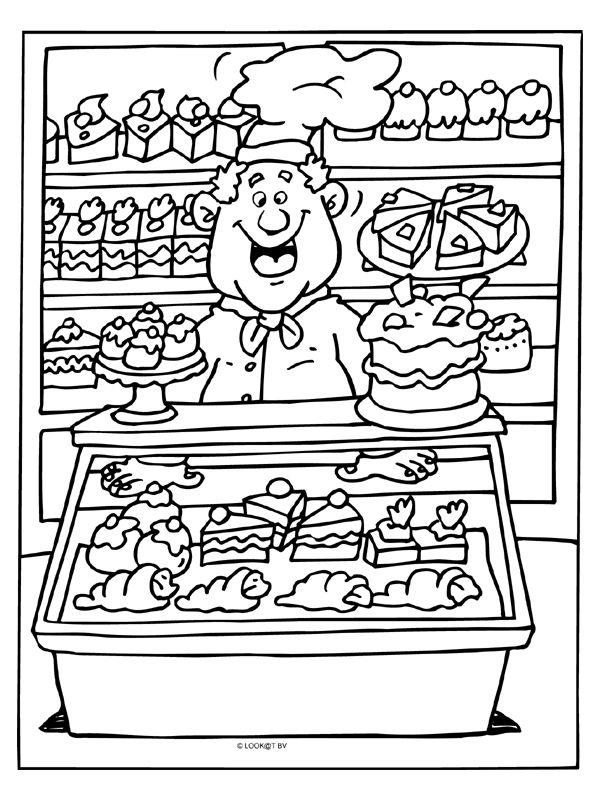 Kleurplaat De warme bakker (bakkerij)