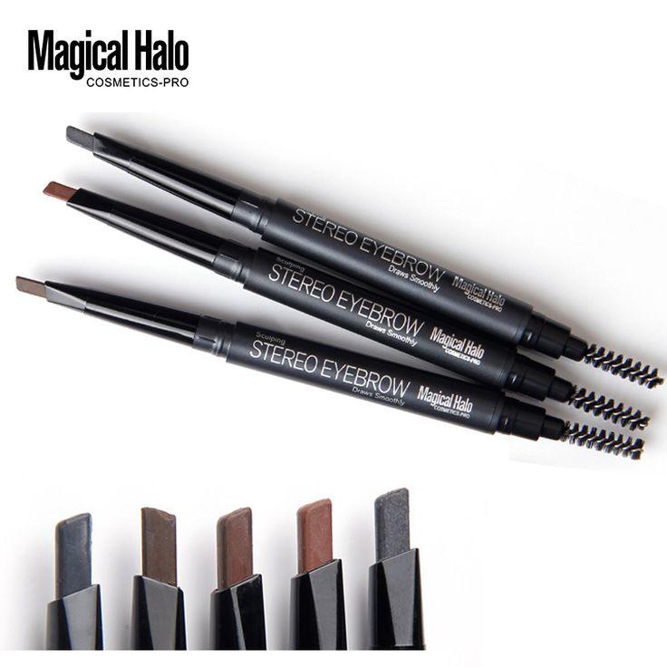 Magical halo 5 kleur hoge kwaliteit automatische wenkbrauwpotlood waterdicht langdurige make cosmetics wenkbrauw pen grijs met borstel