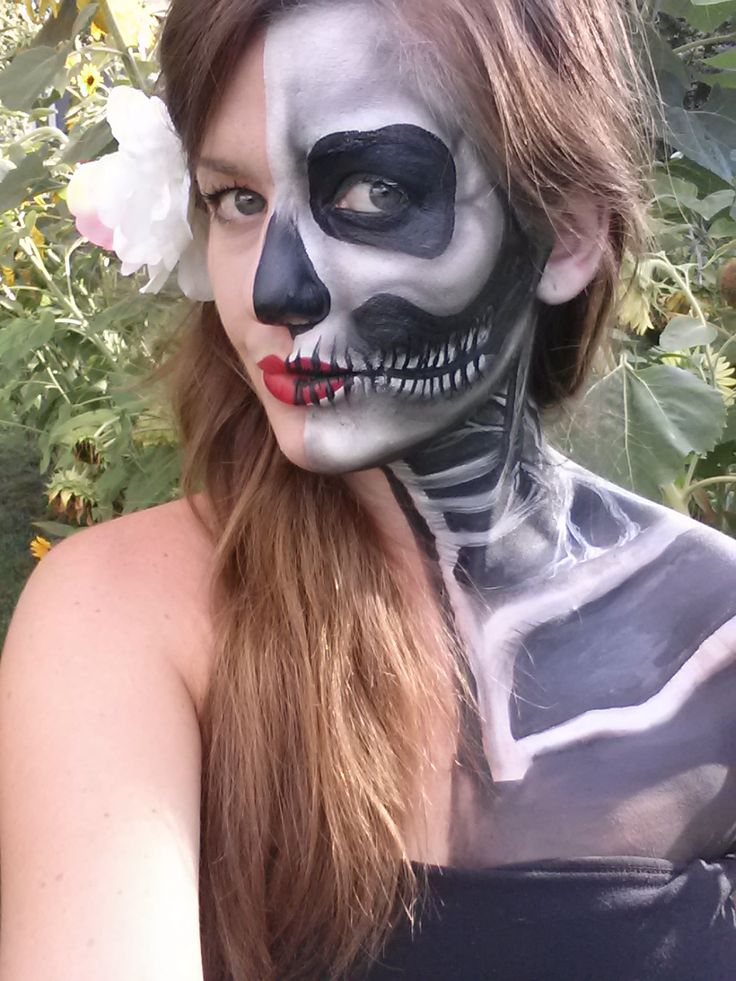 Artist Leslie Heidner Female Half Face Skeleton Skull Face Painting Face Art Body Art Drawing ...