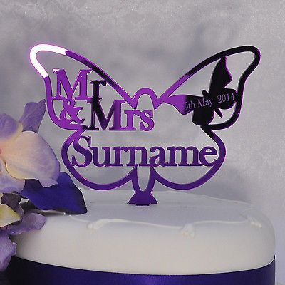 Personalised Wedding Mr & Mrs Butterfly Cake Topper Purple Mirror Acrylic in Cake Toppers | eBay