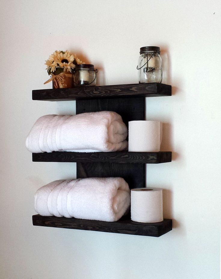 wall shelf rustic floating shelf towel rack bathroom shelf wood shelf - Wie Man Ein Kopfteil Mit Regalen Baut