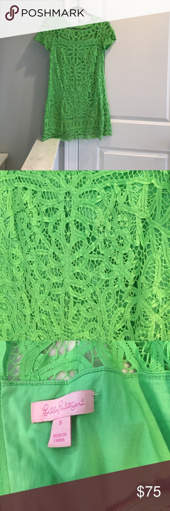 Lilly Pulitzer lime green lace shift Lime green short sleeve lace shift dress Lilly Pulitzer Dresses Mini