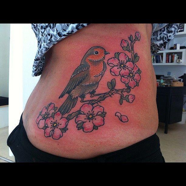Bird of the day... #tattoo #bird #robin #cherryblossoms | Flickr