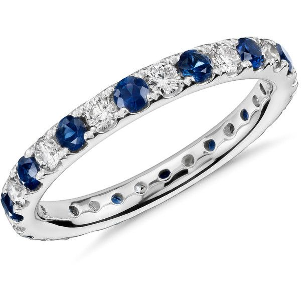 Blue Nile Riviera Pav Sapphire and Diamond Eternity Ring (£1,360) ❤ liked on Polyvore featuring jewelry, rings, wedding anniversary rings, eternity ring, eternity band ring, sapphire diamond ring and sapphire eternity ring