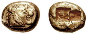 Las primeras monedas oficiales se acuñaron en Lidia (un pueblo hoy en Turquía), aproximadamente entre los años 680 y 560 a. C. Su nombre proviene de que se acuñaban junto a los templos de Juno Moneta, protectora de los fondos. En su origen, moneta derivaba de la palabra latina monere: advertir, recordar, enseñar. Con el tiempo tomó el significado de acuñar, y acabó en la moneda actual del español, monnate en francés, money en inglés o münze en alemán.