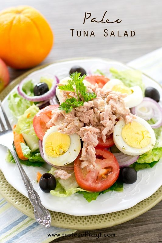 Paleo Tuna Salad >> by Tastes of Lizzy T's. Paleo Tuna Salad is packed with protein, vegetables, olives and drizzled with a homemade dressing. Grain free, gluten free, sugar free and dairy free to help you meet your healthy eating goals.