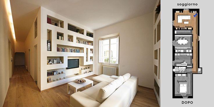Una serie di opere in cartongesso, un nuovo pavimento in legno, nuovi impianti e un ricco gioco di controsoffitto sono solo alcuni degli elementi che hanno contribuito a rinnovare completamente la natura estetica di questo prezioso appartamento.