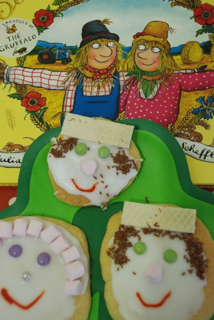 The scarecrow's wedding by Julia Donaldson another great story book for children.  To go with the book some scarecrow cookies.  Great for harvest time / autumn activity