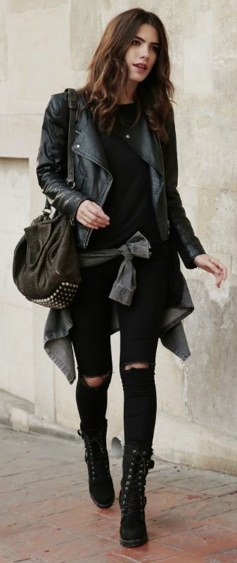 Bohemian fall styling: Trendy grey shawl, distressed denim and tons of accessories.