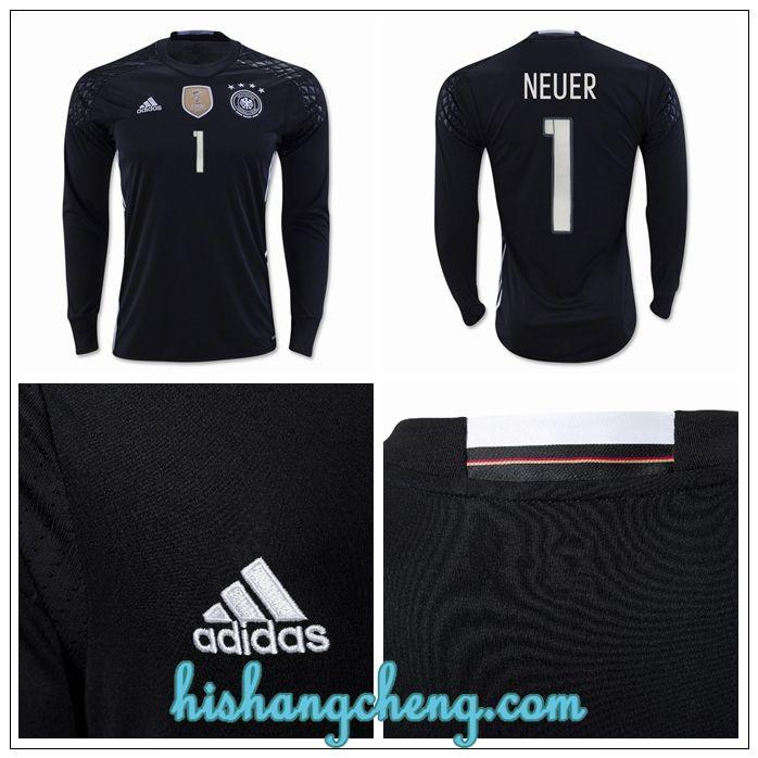 vetement foot maillot gardien de but allemagne Neuer 2016 domicile manche longue prix
