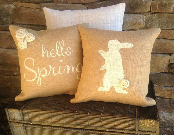 Bunny Pillow Cover Throw Pillows Easter Pillows by SassafrasHome