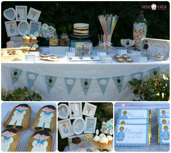 1000 images about comunion on pinterest candy table for Mesa de dulces para baby shower nino