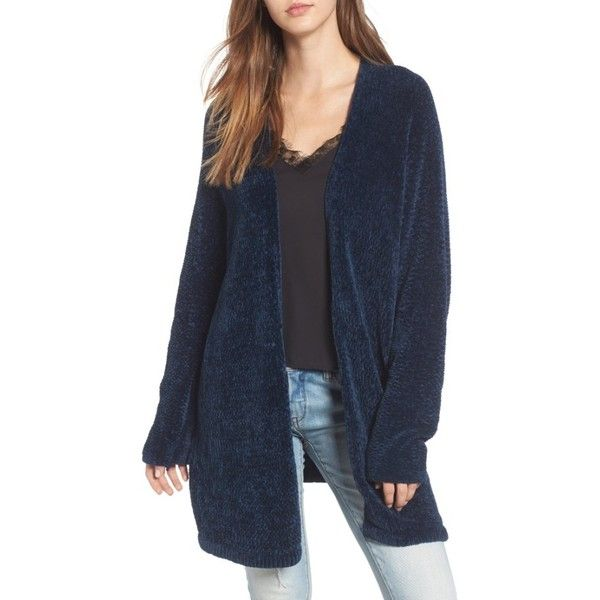 Women's Lost + Wander Maya Chenille Long Cardigan (1.356.000 IDR) ❤ liked on Polyvore featuring tops, cardigans, navy, blue top, navy blue long cardigan, long navy cardigan, long cardigan and navy blue top