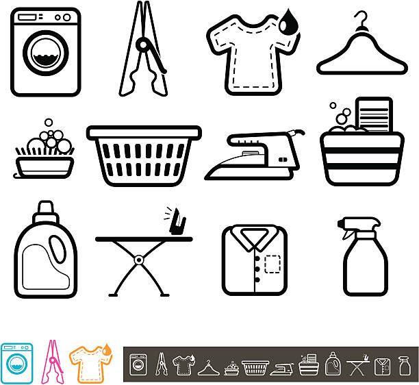 Conjunto De Iconos De Servicio De Lavanderia Ilustracion De Arte