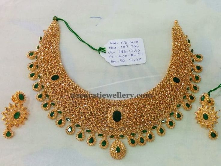 Jewellery Designs: Uncut Diamond Choker 125gms