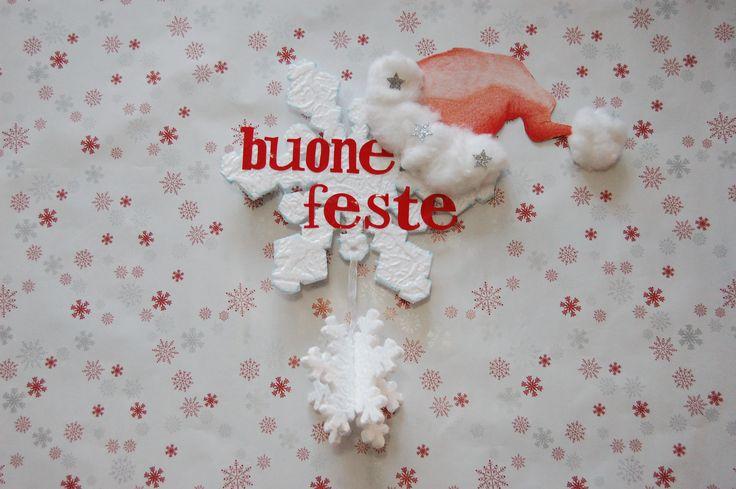 "Ghirlanda ""Buone Feste"" in polistirolo."
