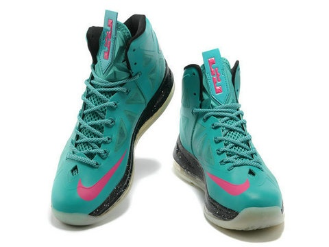 Nike LeBron 10 ID South Beach Pre Heat features a flash blue hyperfuse upper  with pink