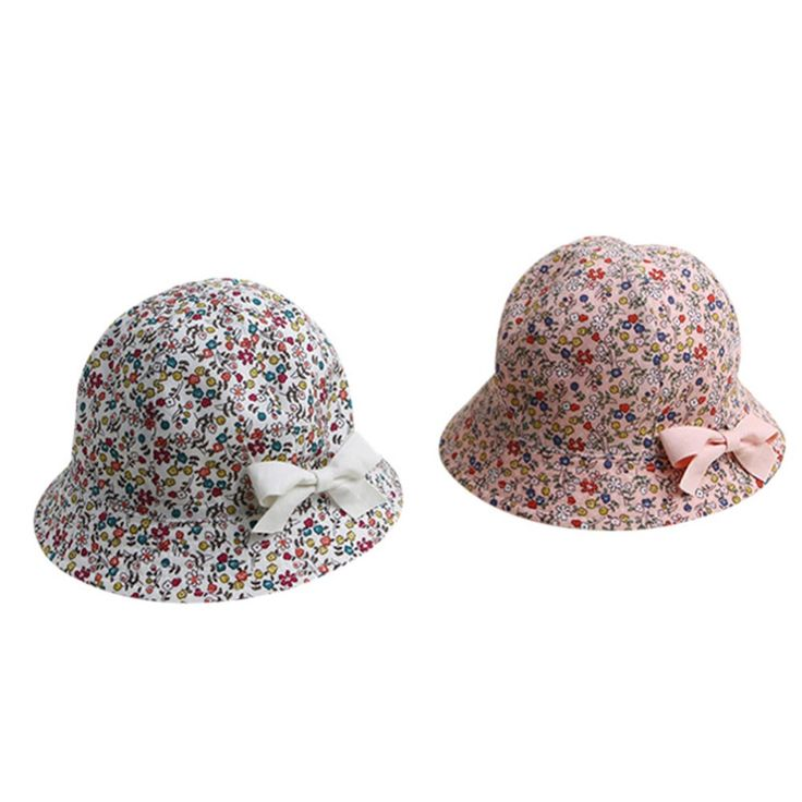 Sweet Baby Gift Infant Floral Bowknot Beach Outdoor Sun Bucket Hat Cap 4M-2Y S12