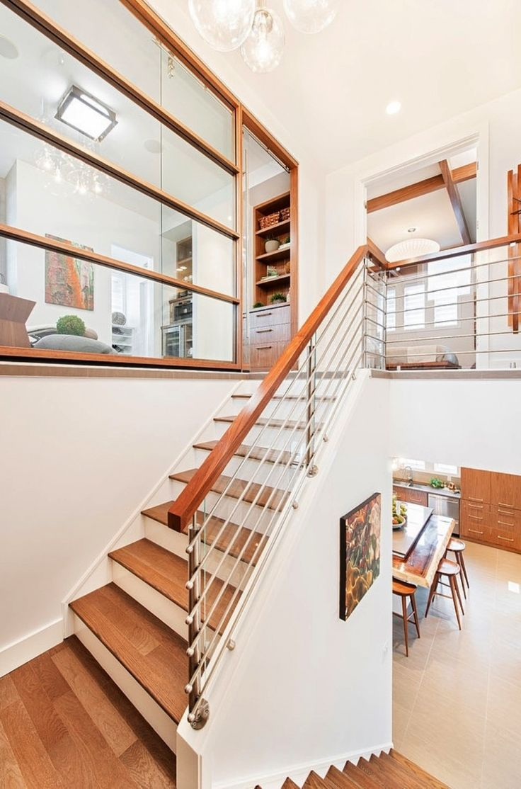 Home Design, Elegant Impeccable And Sweet Interior House Design With Stunning White Staircase With Chic Vintage Wooden Accent: Amazing and Adorable Stampade Rotary Home Design Ideas