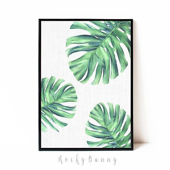 Digital download art monstera printable wall art tropical