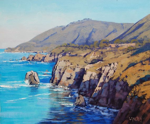 BIG SUR PAINTING California Beach Painting  by GerckenGallery