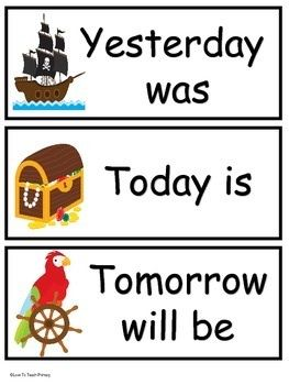 Calendar signs and more for the Pirate Themed Classroom! 40 pages!