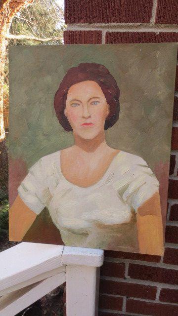 Vintage Modern MidCentury Woman Portrait Oil by AntiqueARTGarden, $89.00