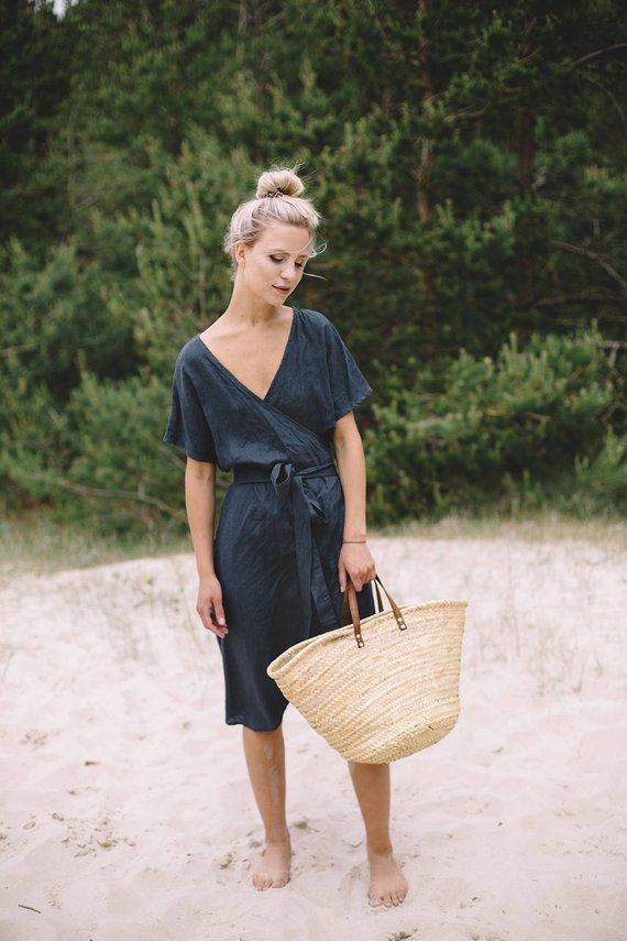 Mimosa Dress Loose Wrap Linen Dress Maternity Linen Dress Linen Dress Graphite Grey Linen Dress 31a