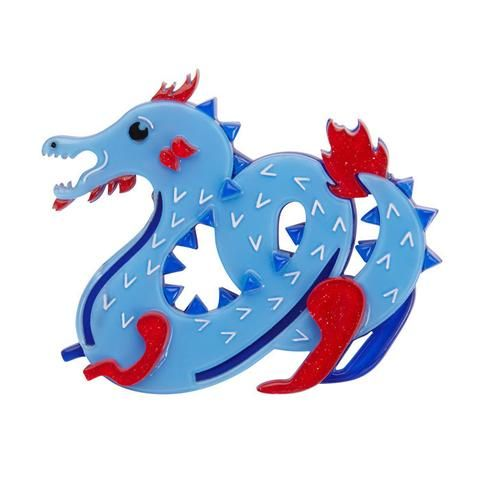"""Erstwilder Collectable Tatsu the Terrifying Brooch. """"Terrifying but not terrible; I'm a good dragon. Life may have it's ups and downs but there is something fantastic about that."""""""