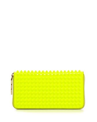 Panettone Patent Spiked Zip Wallet, Neon Yellow by Christian Louboutin at Neiman Marcus.♡ by tiffany