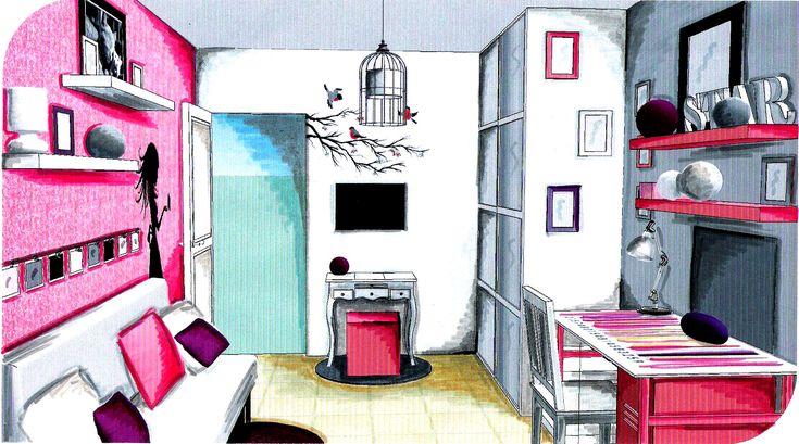 am nagement et d coration chambre ado fille 4 usages canap lit bureau tv coiffeuse. Black Bedroom Furniture Sets. Home Design Ideas