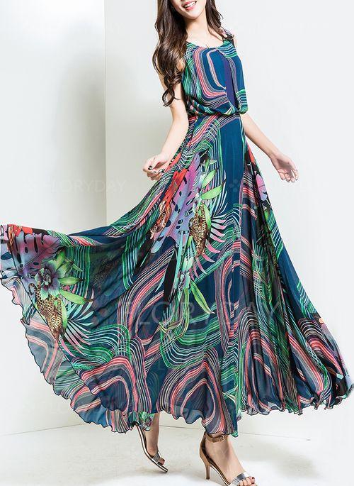 Robes - $78.99 - Mousseline de soie Florale Sans manches Maxi Vintage Robes (1955103782)