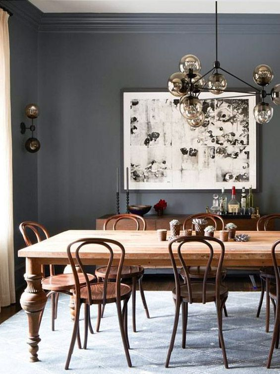 Aesthete Label love - Charcoal grey dining room with antique table and bentwood chairs on Thou Swell @thouswellblog