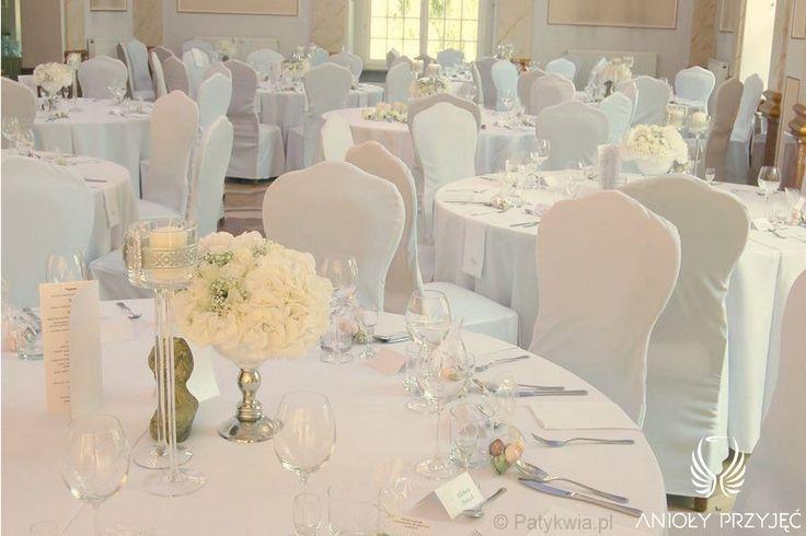 5. Roman Wedding,White Silver Centerpiece / Rzymskie wesele,Dekoracja stołów,Anioły Przyjęć