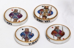 """""""Elinor was obliged to assist in making a whist table for the others"""" (Sense and Sensibility, ch 26). Pictured: whist counters, late 18th/early 19th century, porcelain, Germany."""