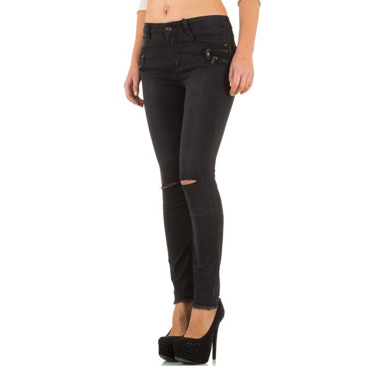20,99 € - Trendige Damen Used Look Skinny Jeans mit angesagten Rissen auf Kniehöhe.