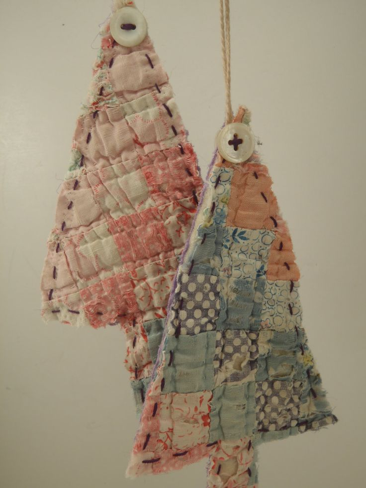 Vintage Quilt Ornaments Christmas Tree hanging Upcycled by slvilov