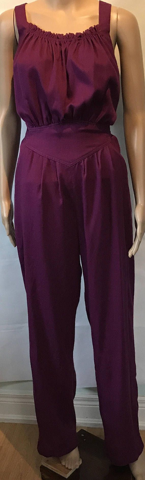 1980's Retro Ladies One Piece Purple Romper Play Suit