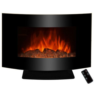 "AKDY 36"" Freestanding Curved Glass Electric Fireplace 