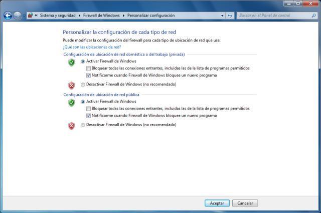 Activar, desactivar y configurar el firewall de Windows 7