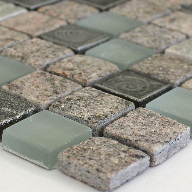 !!! das könnte es sein.    Quarzit Glas Naturstein Mosaik Fliesen 23x23x8mm