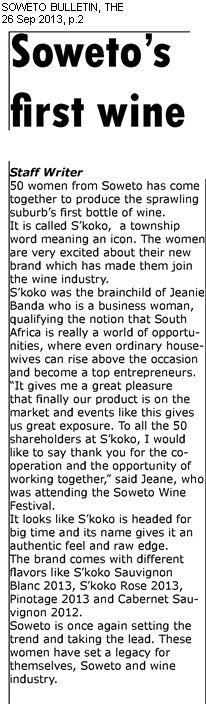 Soweto Bulletin 26 Sept, pg 2 Soweto's first wine S'koko = Icon