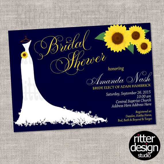Sunflower Navy Yellow Bridal Shower by RitterDesignStudio on Etsy